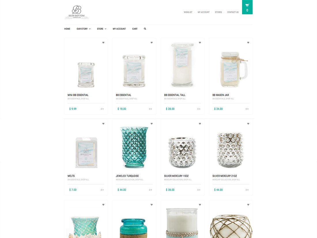 Website Shopping layouts for Bear Bottom Candles