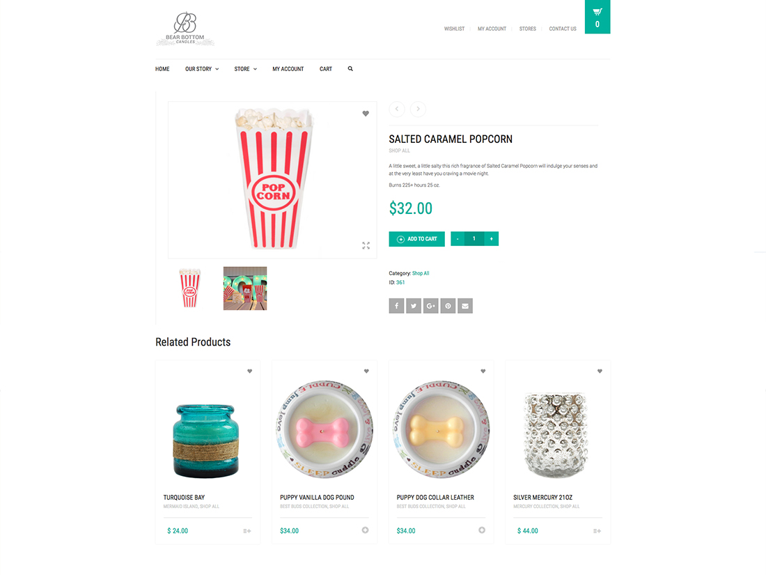 Website Single Product layout for Bear Bottom Candles